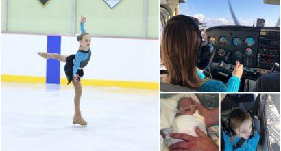 Grace Stumpf collage ice skating, flying, newborn