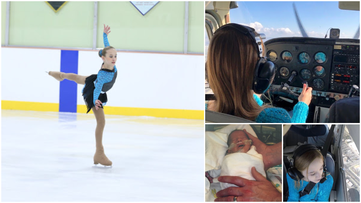 Grace Stumpf collage ice skating, flying, newborn